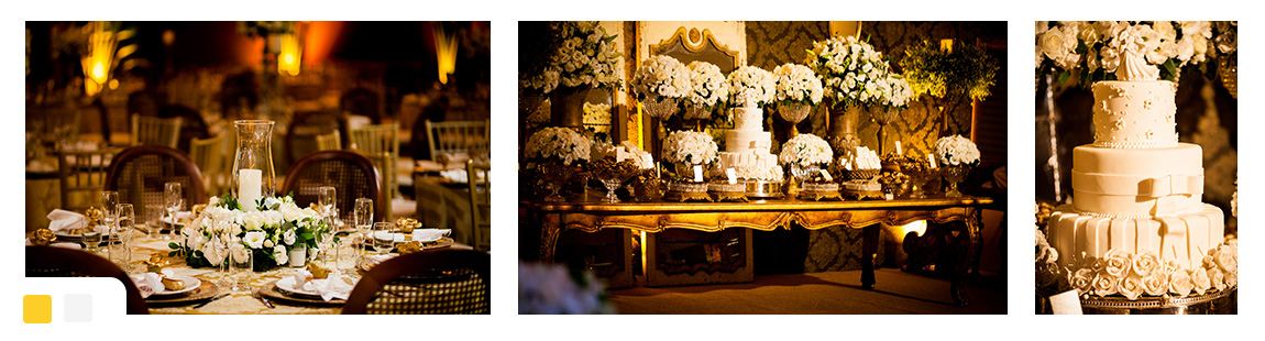 Casamento Dourado e Branco